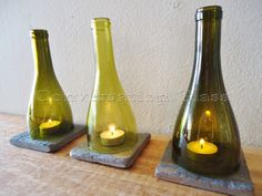 Wine Bottle Candle Holders Tea Light Hurricane Lamps Lanterns Set of 3     Higher Quantities Available by ConversationGlass on Etsy https://www.etsy.com/listing/102694443/wine-bottle-candle-holders-tea-light