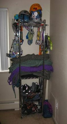 Outdoor gear in a small space. Obviously don't have this much climbing stuff - just enough for two people. But add in hiking backpacks, tents, boots, snowboarding stuff etc and this would be a good idea inside of a closet.