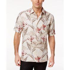 Tasso Elba Men's Romo Birds of Paradise Shirt, (€32) ❤ liked on Polyvore featuring men's fashion, men's clothing, men's shirts, men's casual shirts, khaki combo, mens short sleeve shirts, mens casual short sleeve shirts and mens casual short-sleeve button-down shirts