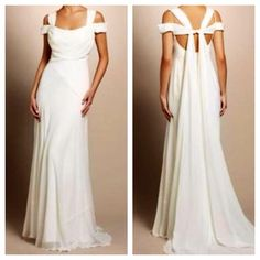 Nicole Miller Georgette Draped Wedding Bridal Gown Elegant, unique and effortless! Be an ethereal bride and stand out from the rest! Style number #FA0023. // Only worn once for an engagement photoshoot; practically brand new! Price is negotiable. No trades. Nicole Miller Dresses