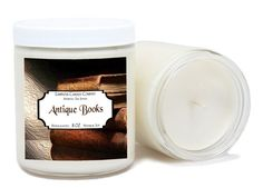 "Antique Books soy candle has just the right combination of oils to give it that old antique book smell. A blend of leather, cedarwood, musk and all around oldness gives this candle its old book fragrance. $$$$$ LOW COST PRIORITY MAIL SHIPPING $$$$$   FEATURES: Natural Soy Wax Lead-Free Cotton Wick Premium Grade (phthalate free) Fragrance Oil Hand Crafted, Made-To-Order (not stocked on shelves) Eco-friendly and Clean Burning Jar Dimensions – 4.00"" high x 3.25 dia. Burn Time Approx. 60 hours…"