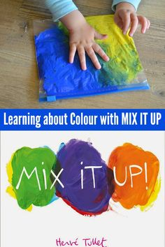 Have fun exploring colour mixing and shapes with Herve Tullet& Mix It Up and Press Here. Colors For Toddlers, Science For Toddlers, Preschool Science, Science Art, Preschool Crafts, Toddler Themes, Toddler Art, Toddler Activities, Sensory Activities