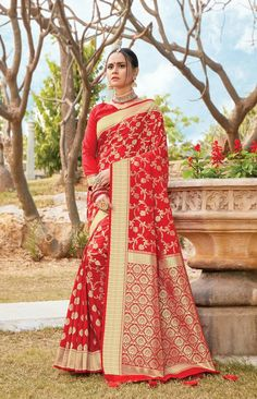 Product ID: Work Type: Weaving Saree Color: Red Blouse Color: Red Saree Fabric: Art Silk Blouse Fabric: Art Silk Saree Size: Metres Blouse Piece Size: Metres Blouse is delivered Unstitched Note: Art Silk Sarees, Banarasi Sarees, Lehenga, Red Saree, Saree Look, Fancy Sarees, Party Wear Sarees, Salwar Kameez, Designer Sarees