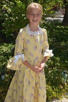 Girls-Handmade-Colonial-Dress-Size-12-Yellow