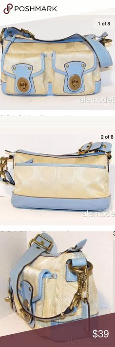 "COACH ~Legacy Satchel  Ivory Blue Leather Trim Bag ✨ Excellent conditions.                     📌Exterior Color: Ivory /Blue Material: Jacquard with leather trim Closure: Zip top Pockets: Two individual pockets with turn lock closure, one large zippered pocket back Handles /Strap: Single strap ( adjustable)  📌Interior Pockets: One zippered, two small pockets Lining: brown fabric  📌Measurements  Height: 9""  Length: 7""  Depth: 3 1/2"" Strap Drop: 10""                                   🦋 Thank…"
