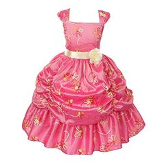 Big Girls Coral Embroidered Taffeta Flower Sash PickUp Pageant Dress 10 >>> More info could be found at the image url.