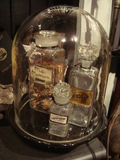 Large Antique Laboratory Glass Domes for special or rare minis | Inspiration-Mood-Dream board for the planning of The Mini Museum & Miniature Perfume Shoppe