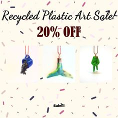 OFF Sale. Get In quick! Plastic Design, Plastic Art, Plastic Jewellery, Off Sale, Recycling, Christmas Ornaments, Holiday Decor, Plastic, Christmas Jewelry