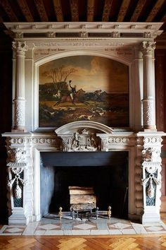 At the Chateau de Sully, the study features a carved stone and marble chimneypiece. Fireplace Mantle, Living Room With Fireplace, Fireplace Surrounds, Fireplace Design, Fireplace Ideas, Home Design, Floor Design, Design Ideas, Classic Fireplace