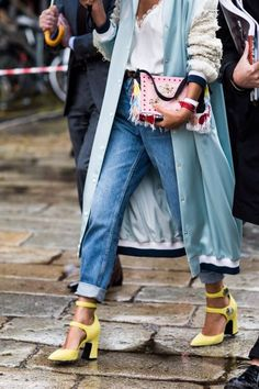 Dress your denim up with bold heels and a statement-making jacket. #streetstyle