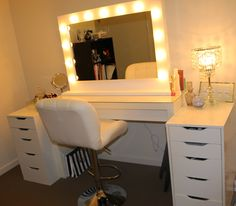 Square Mirror With Lights On Makeup Vanity Table With White Chair ...