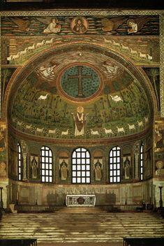Saint Apollinaris amid sheep, apse mosaic, Sant'Apollinare in Classe, Ravenna, Italy, ca. 533-549.
