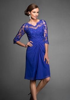 Look distinguished and sophisticated in this chiffon A-line special occasion dress. The dress has a bateau neckline, ruching that draws the fabric in towards the navel, and beautiful lace along the neckline and sleeves.