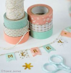 Christmas washi tape bunting tutorial by Torie Jayne. Rose and Mint christmas palette. Fee Peach Christmas washi tape bunting tutorial by Torie Jayne. Rose and Mint christmas palette. Washi Tape Diy, Masking Tape, Washi Tapes, Duct Tape, Christmas Wrapping, Christmas Crafts, Christmas Bunting, Christmas Items, Gold Christmas