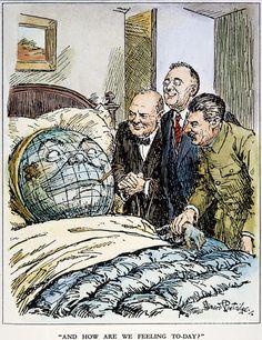 1945 Photograph - Cartoon: Big Three, 1945 by Granger Political Art, Political Cartoons, History Cartoon, Propaganda Art, Big Three, Cute Disney Wallpaper, History Projects, Historical Pictures, World War Two