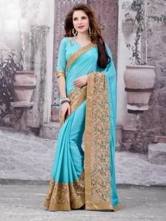 Blue and Beige Chiffon Saree with Embroidery Work