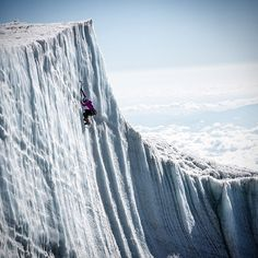 Sarah Hueniken climbing the remaining glaciers of Kilimanjaro.   Photo: Christian Pondella See more on  @ORGEAR