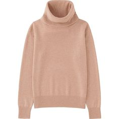 Women's Cashmere Turtleneck Sweater, PINK, large