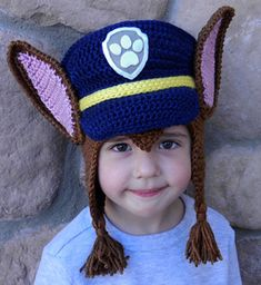 Adorable Paw Patrol Chase Crochet Hat Pattern! Perfect gift for Christmas for your little Paw Patrol fan!