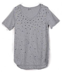 Perforated T-shirt with Metal Stud Embellishment