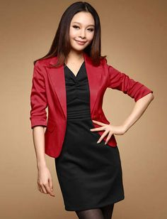 Women OL Style Pure Colour 3/4 Sleeve Slim-Fit Blazer - Item 695228 at Eastclothes.com