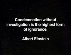 Condemnation without investigation is the highest form of ignorance. Albert Einstein