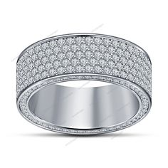 Men's Wedding & Engagement Band Ring 0.60CT Round Cut Diamond 14K White Gold #aonedesigns #MensEngagementRing