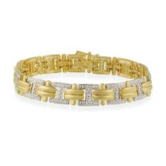 """18K Gold over Sterling Silver Diamond Accent """"I"""" and Double Bar Link Bracelet SilverSpeck.com. $85.00"""
