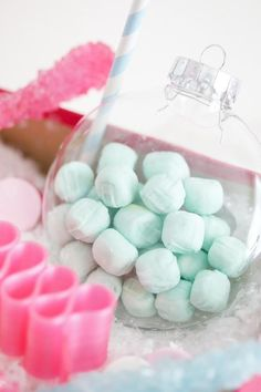 Cute idea! Wedding Butter Mints in ornaments! Via KarasPartyIdeas.com