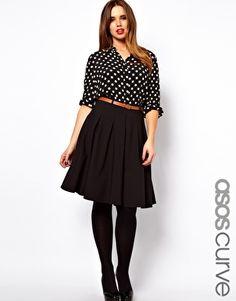 ASOS CURVE Midi Skirt With Belt