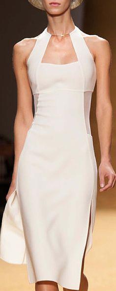 Akris white fashion runway street summer dress sexy hot