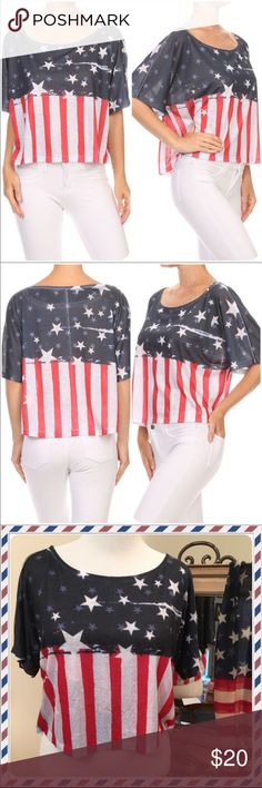 Stars & Stripes Crop Top This top is perfect for patriotic holidays (Labor Day) to show your support for our wonderful country, or any day to show your support of our military and emergency responders!!! Tops Crop Tops