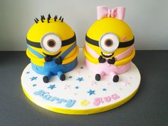 Minion boy and girl joint birthday party, cake