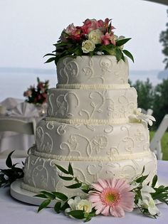 Traditional lace rolled fondant wedding cake. Cakes by Graham     More Than Just Icing On The Cake