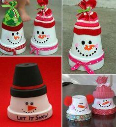 Terracotta Pot Snowmen