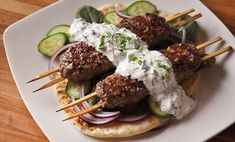 Make these spiced ground lamb kebabs in just minutes on the grill.They're delicious on pita with a little herbed yogurt and cool, crisp veggies. Lamb Kabobs Recipe, Lamb Kebabs, Beef Kabobs, Beef Kofta Recipe, Lamb Roast Recipe, Kabob Recipes, Meat Recipes, Hibachi Recipes, Cooking