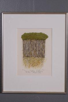 Reino Hietanen: Pinjat, 2004, litografia, 30x22 cm, edition ea 1/20 - Huutokauppa Helander 04/2015