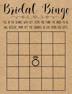 This listing is for INSTANT DOWNLOAD high resolution files. You can print these PDF files at home or at a local printing shoppe. Print on Kraft paper for a more rustic look.  Play this game with your family and friends at your bridal/wedding shower by having guests fill in the blank squares with items they think the bride will receive as gifts (i.e. dinnerware, glasses, etc). When the bride opens her gifts, guests can mark out squares if they guessed correctly.  This listing includes two...