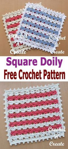 crochet square doily, free crochet pattern, #crochetncreate #crochetdoily #crochetmat #crochet