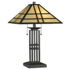 You'll love this Arts & Crafts style table lamp crowned with a Tiffany-inspired art glass shade. Style # 97529 at Lamps Plus. Mission Furniture, Craftsman Furniture, Art Deco Movement, Arts And Crafts Movement, Laser Cut Lamps, Mission Style Homes, Craftsman Lighting, Arts And Crafts Furniture, Stained Glass Lamps