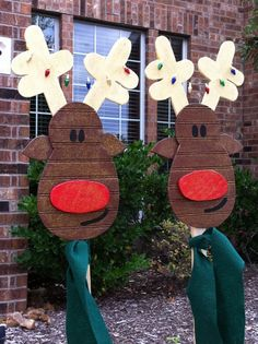 new diy christmas yard decorations with christmas reindeer yard art decoration by wildewoodtreasures 35 00