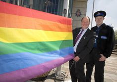 Deputy Police and Crime Commissioner Jim Battle and PCSO Chris Lysaght raise the Rainbow Flag. Greater Manchester Police (GMP) has today raised the rainbow flag in support of IDAHOT 2015 (International Day Against Homophobia and Transphobia). The Force's participation in the annual event marks its support for Lesbian, Gay, Bisexual and Transgender (LGB&T) communities in Greater Manchester and across the world. www.gmpcc.org.uk