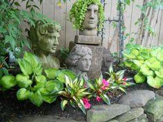 """Hidden Gardens of Lambertville Tour 2013"" - Kalmia Club ... Heads in the garden."