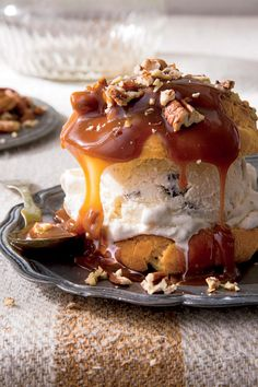 Splurge-Worthy Thanksgiving Desserts: Decadent Cream Puffs with Praline Sauce and Toasted Pecans
