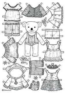 Teddy Bear Paper Doll Template, from category. Find out more coloring sheets here. Paper Doll Template, Paper Dolls Printable, Colouring Pages, Coloring Books, Paper Art, Paper Crafts, Paper Doll Craft, Operation Christmas Child, Thinking Day