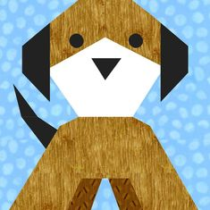 Puppy Dog Paper Pieced Quilt Block Pattern