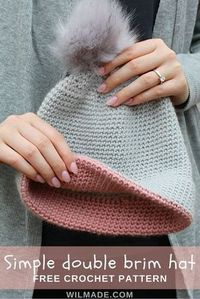 Free #crochet pattern to make this simple double brim #hat on wilmade.com (including a video tutorial)