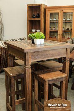 Mesa alta em madeira de demolição - http://moveisdobem.com