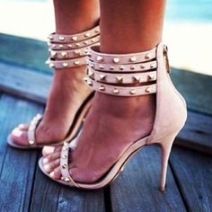 Leather strappy studded stilettos with studded ankle straps, all shoes come with dust bags and box Hot Shoes, Crazy Shoes, Me Too Shoes, Shoes Heels, Pink Heels, Strappy Shoes, Nude Shoes, Gold Heels, Stilettos