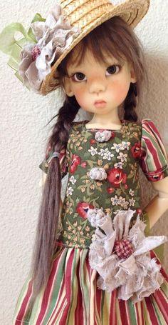 Drop waist dress set with straw hat~Fits Kaye Wiggs MSD body like Miki~by DCH